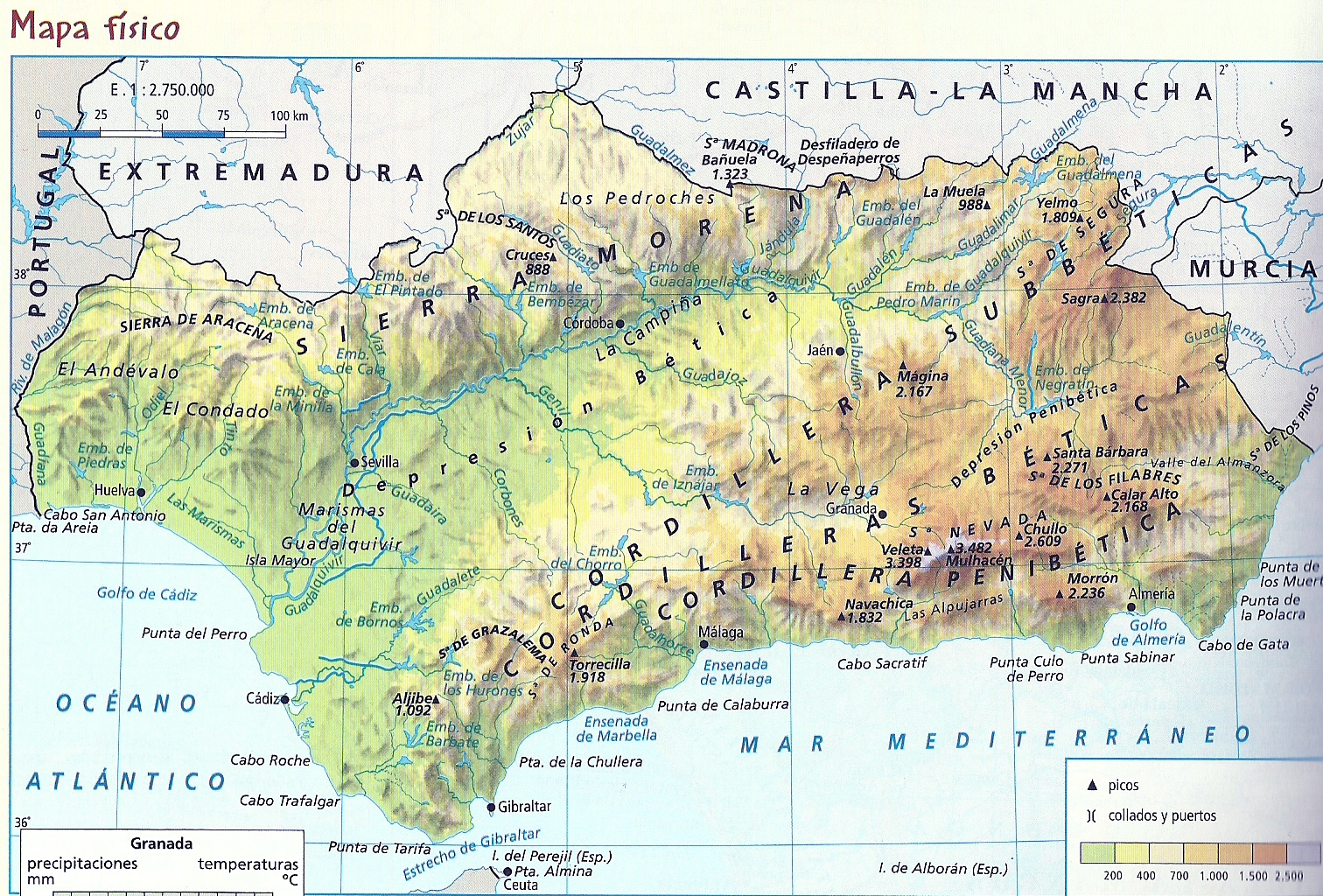 Mapa Fisico Andalucia  threeblindantscom